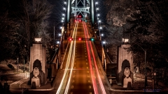 Time exposure of Lions Gate Bridge in Vancouver